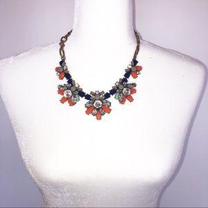Statement necklace blue and Orange Rhinestone